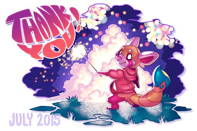 July 2015 Postcard: Fireworks! by Orangetavi