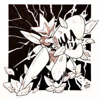 Inktober Day 13 - Mega Scizor by Orangetavi