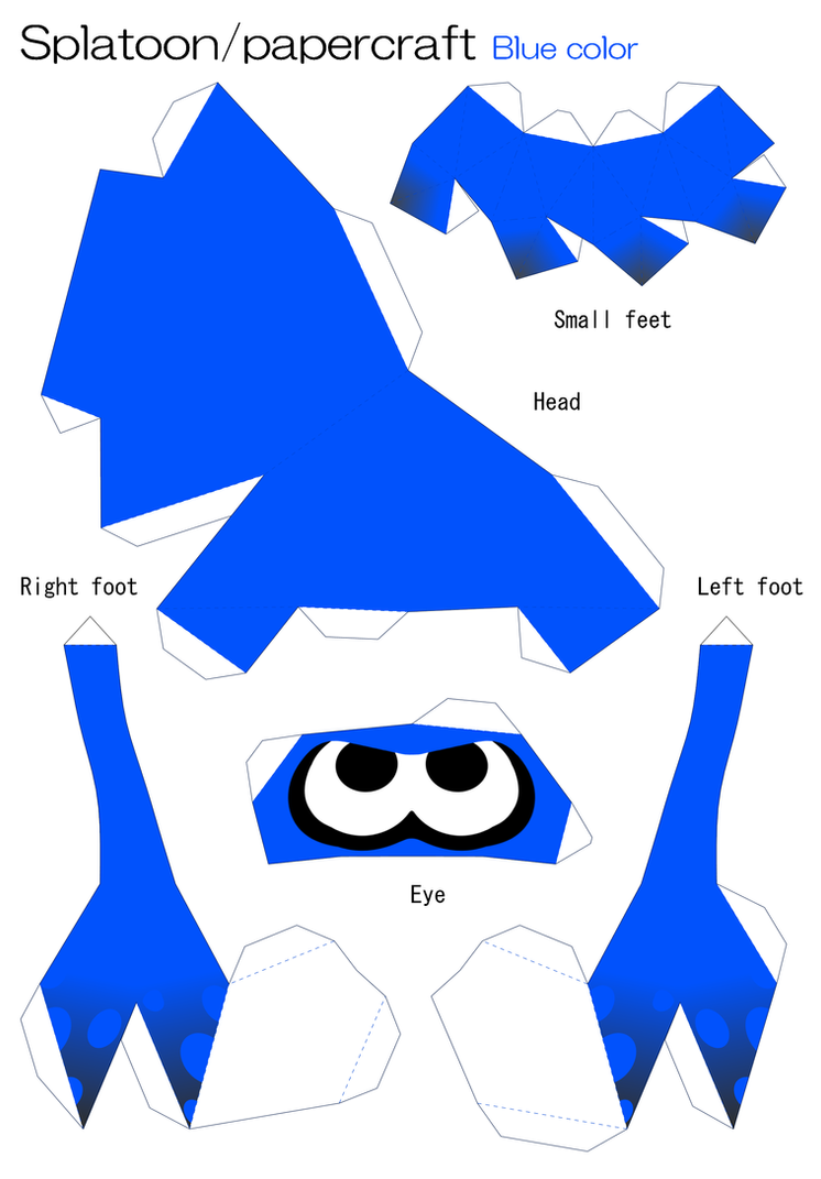 splatoon papercraft   blue by robicraft on deviantart