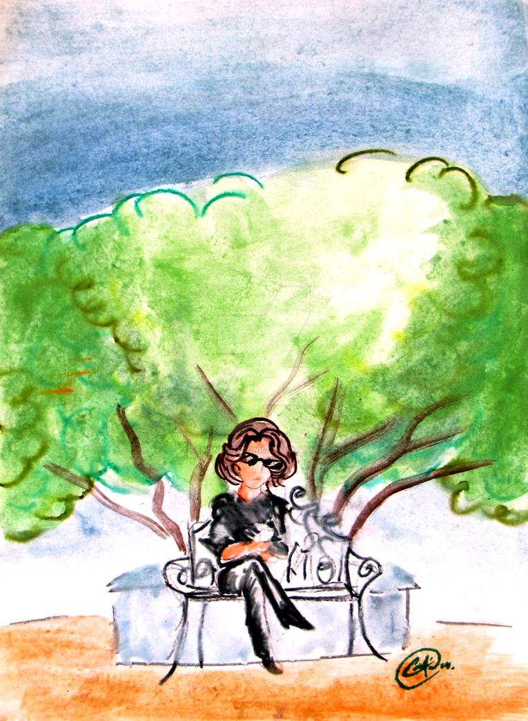 Self portrait on garden by DemonCartoonist