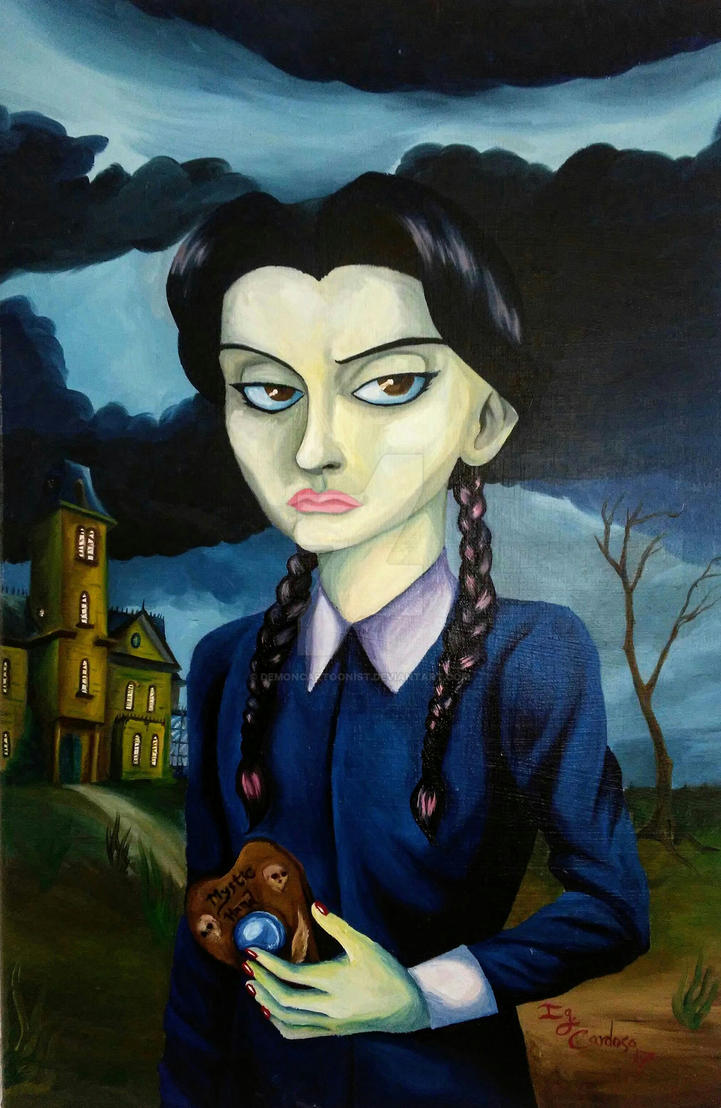 Wednesday Addams Oil Painting by DemonCartoonist