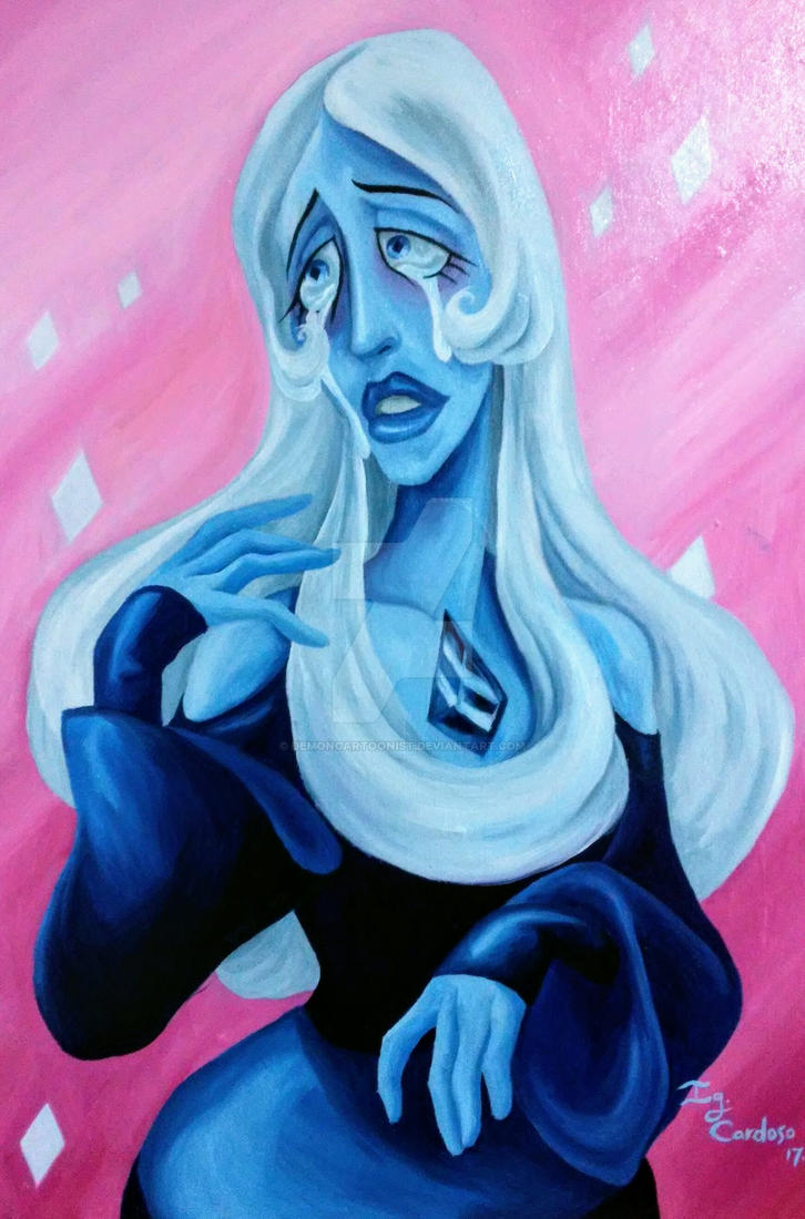 "An Oil painting on wood canvas of Blue Diamond, acharacter created by Rebecca Sugar for her show ""Seven Universe""."