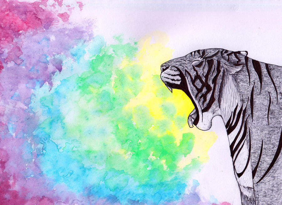 Rainbow Yawn by barkingmadcaz