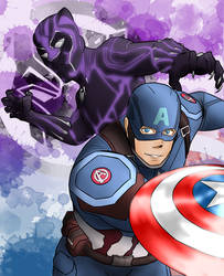 Captain America and Black Panther by Weeb-Artist