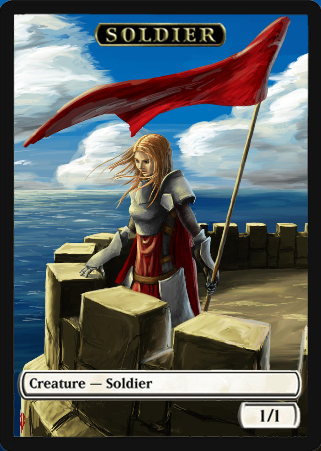 MTG token: Soldier - blue by 0mup on DeviantArt: 0mup.deviantart.com/art/MTG-token-Soldier-blue-355237021