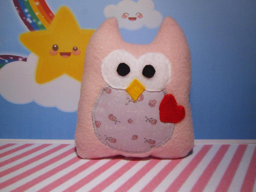 pink owl plush by UndercoverKadaj