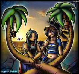 Sayuri and Delfina -Sunset Sea