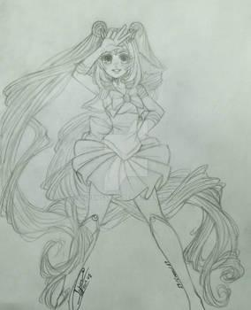 Yukiko doing cosplay of Sailor Moon