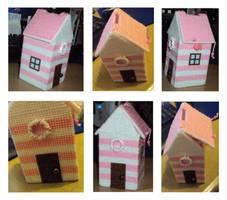 Pink and white beach hut cross-stitch money box