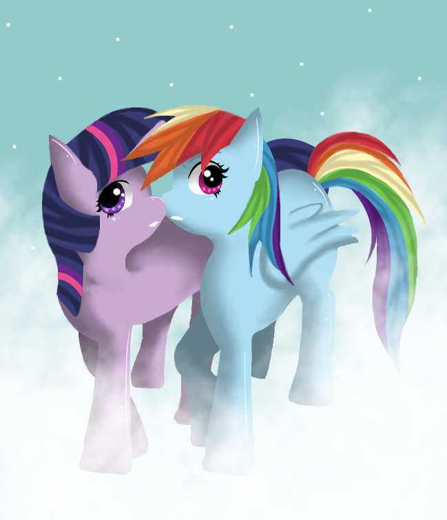 Rainbow Dash Kissing Twilight Rainbow Dash x Twilight