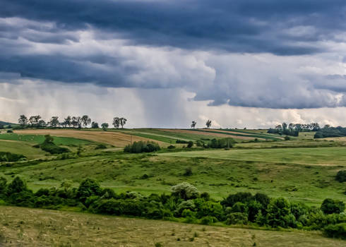 Peaceful countryside in a stormy weather