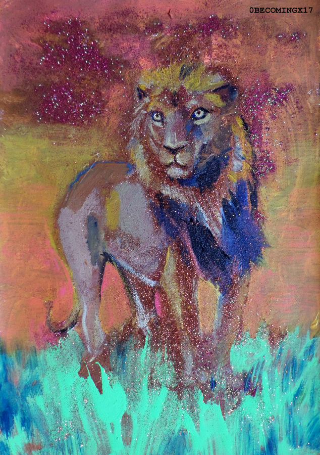 Glitter lion by 0becomingX