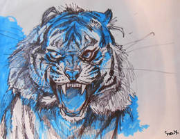 Tiger face by 0becomingX