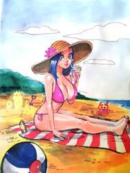 Anime beach babe