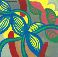 abstracted flower gouache