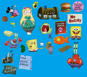 Krusty Krab Commercial Sprites by happaxgamma