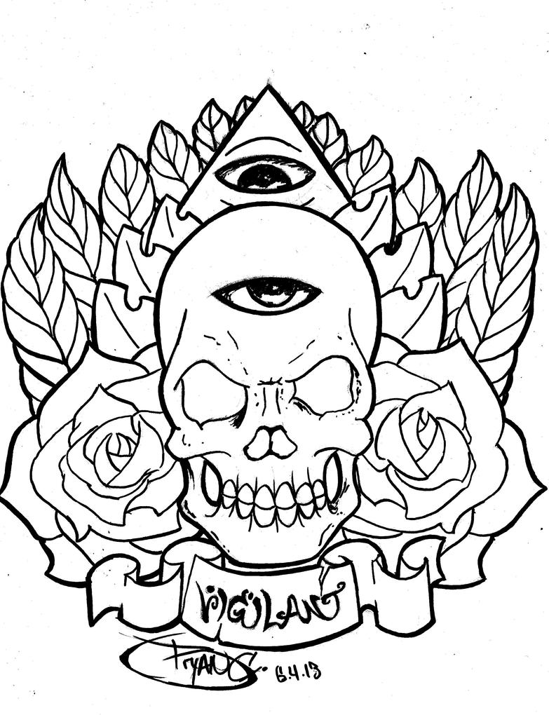 Tattoo Drawing Outline : Skull eye tattoo ink outline by bryanchalas on deviantart