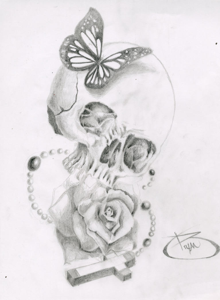 Skull, Butterfly, Rose, Cross by BryanChalas