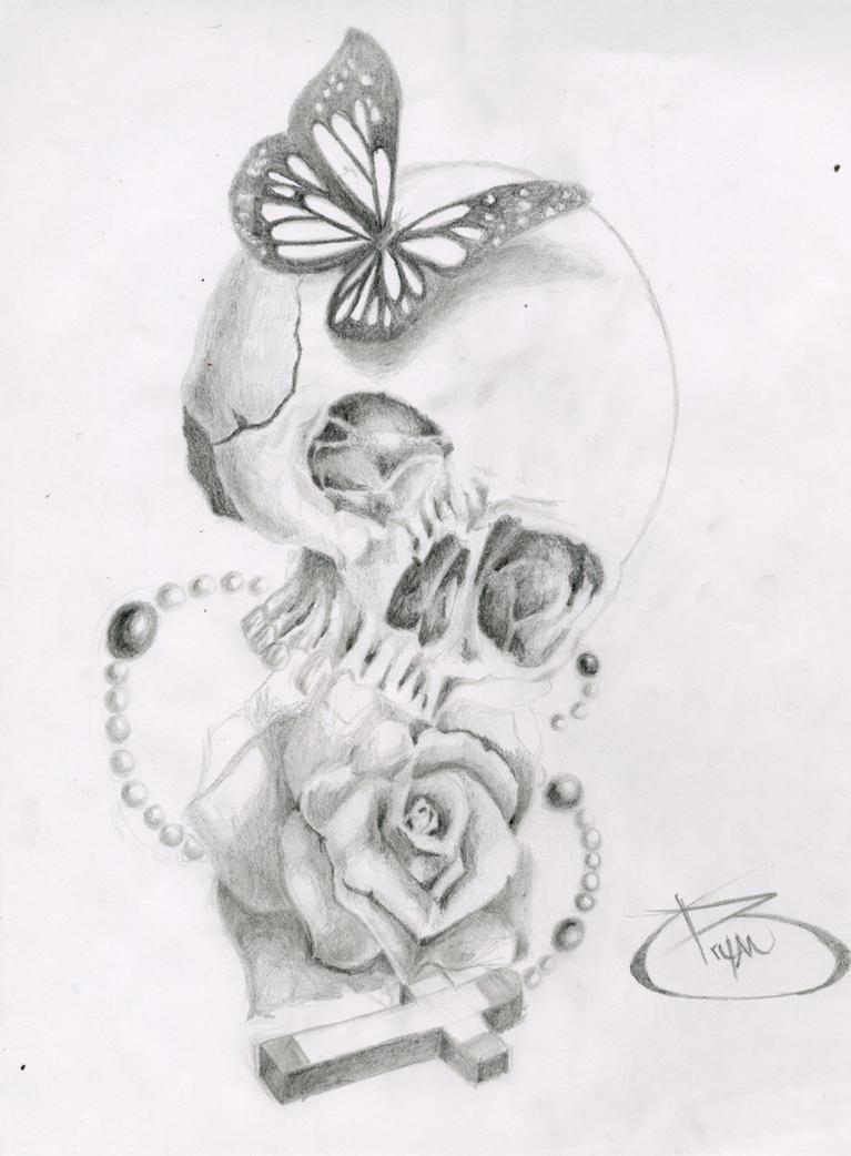 Skull Butterfly Rose Cross By BryanChalas