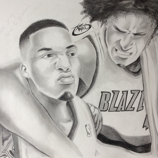 Damian Lillard and Robin Lopez by BryanChalas
