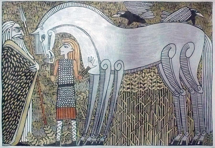Odin Loki and Sleipnir by Hellanim