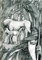 Loki and Sleipnir by Hellanim