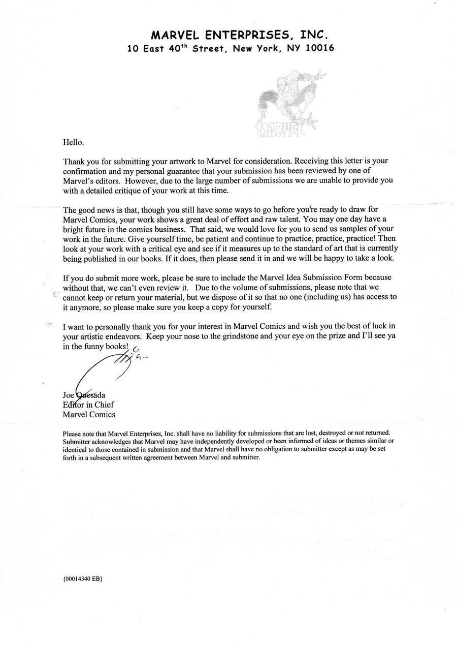 Marvel Rejection Letter 2005 by NickMockoviak on DeviantArt