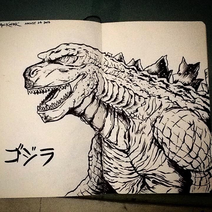 Godzilla 2014 ink sketch by NickMockoviak