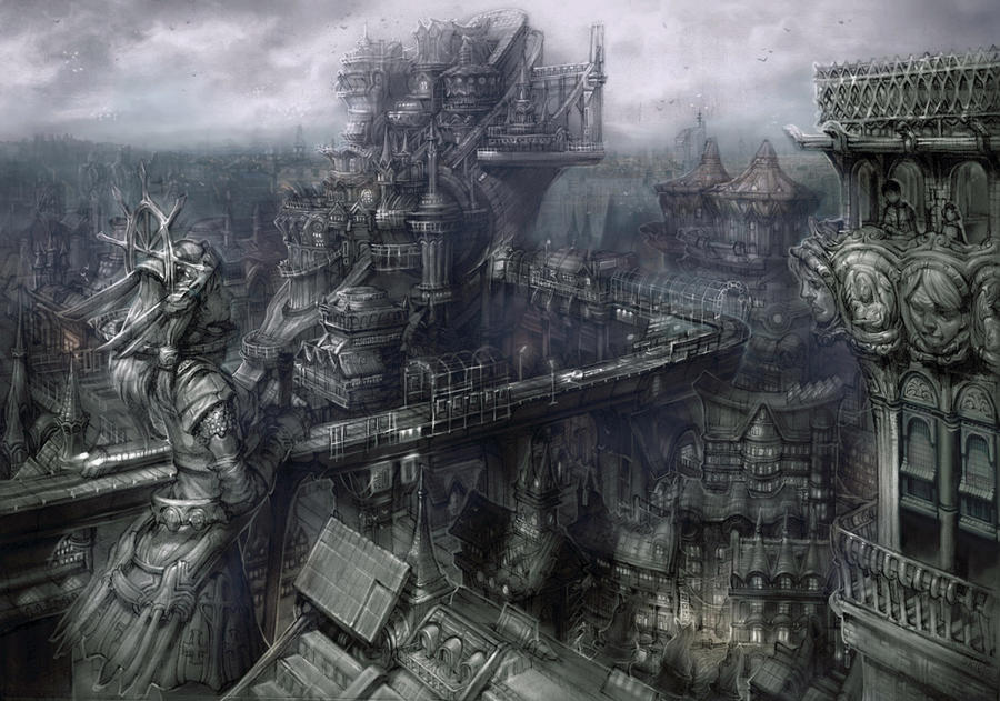 Reconstructed city by rabbiteyes on deviantart for Architecture fantastique
