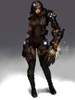 machine arm girl by rabbiteyes