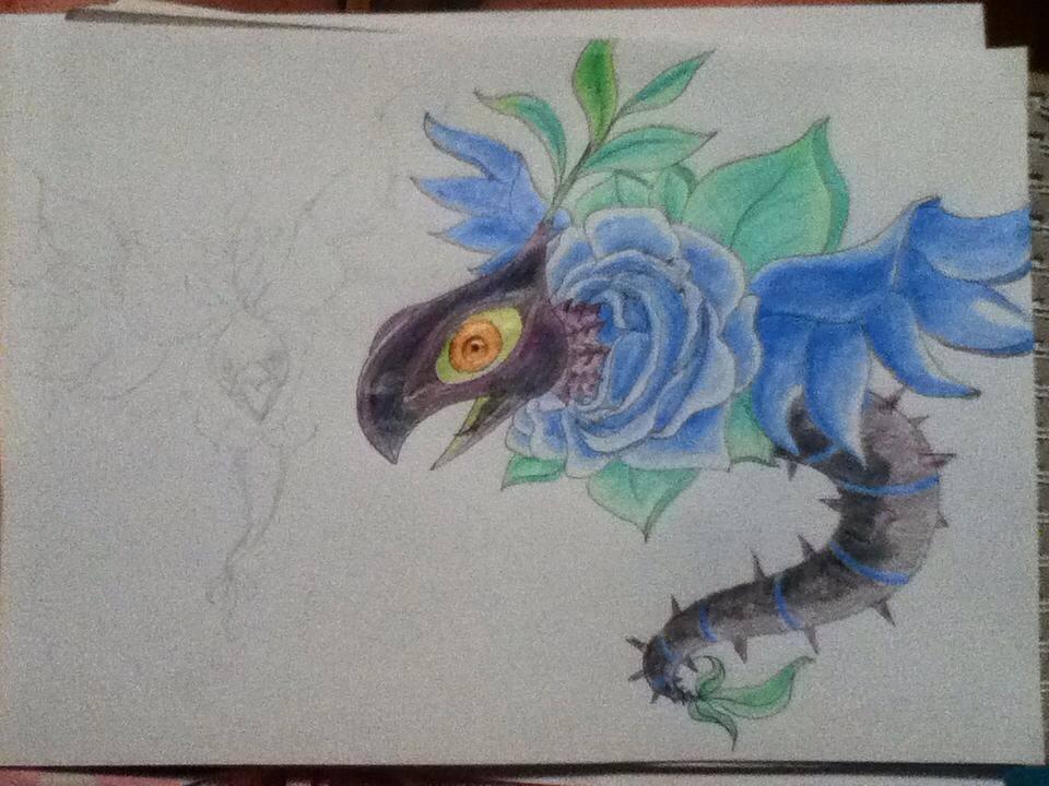 Blue Rose Dragon by Dragon-princess08