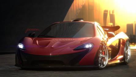 McLaren P1 on HRE S101 fan artwork. by jackdarton