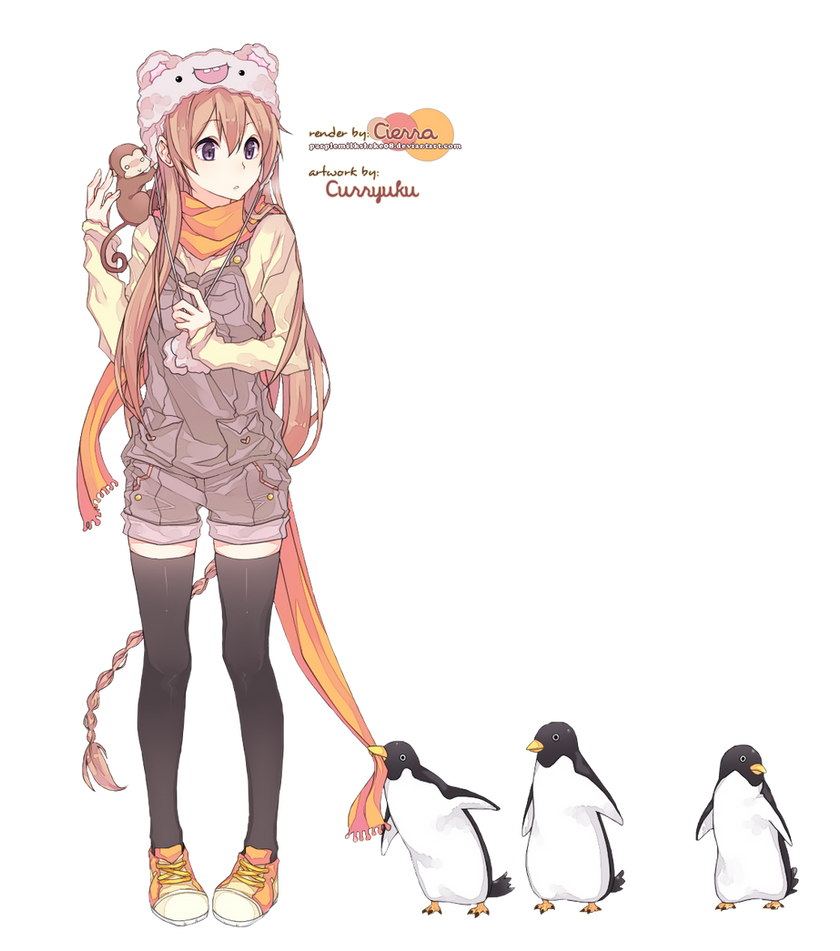 Girl And Penguins Render By Purplemilkshake08 On Deviantart