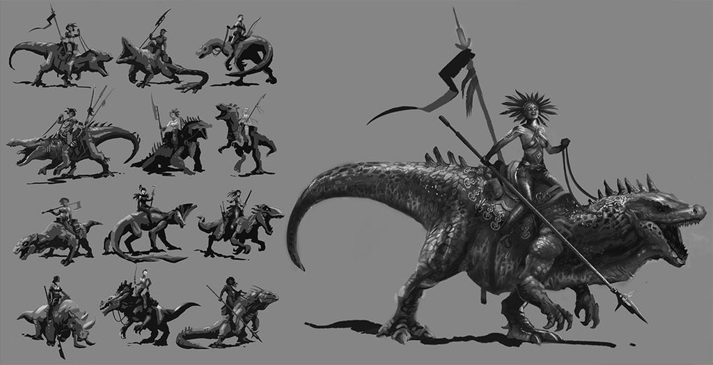 Amazon Witch on dinosaur by maxpaynt