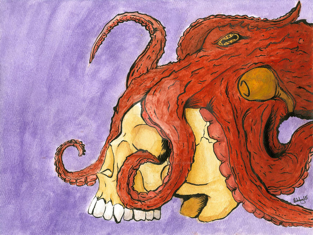 Skull and Octopus by Roosterfeed