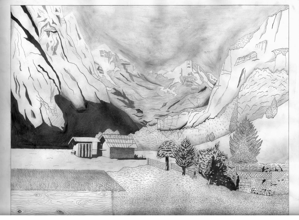 Landscape scene drawing by perfectpen on deviantart for What is landscape drawing