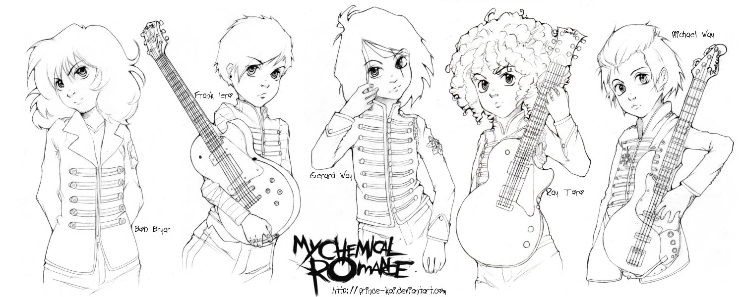 my chemical romance lineart by prince kai