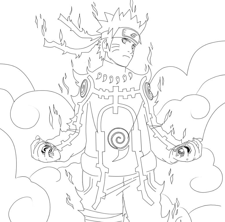 Rikudou Naruto ... Naruto Kyuubi Sage Mode Drawing