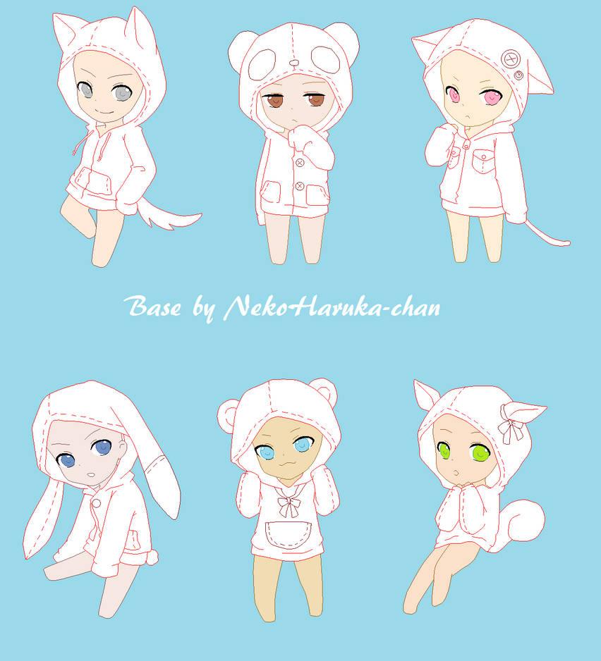 Chibi hoodie base original nekoharuka chan by rochelle bases