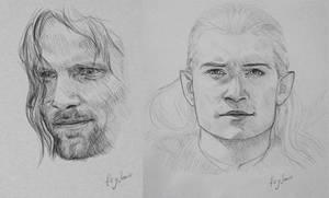 Aragorn and Legolas sketches