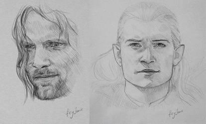 Aragorn and Legolas sketches by Feyjane