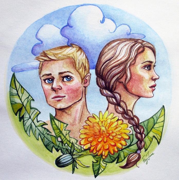 Katniss and Peeta by Feyjane