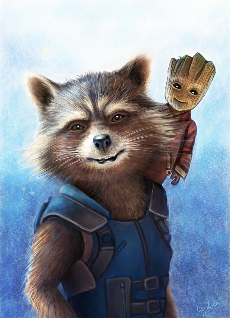 Rocket and Groot by Feyjane