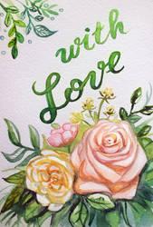 Watercolor Wedding Card by Feyjane