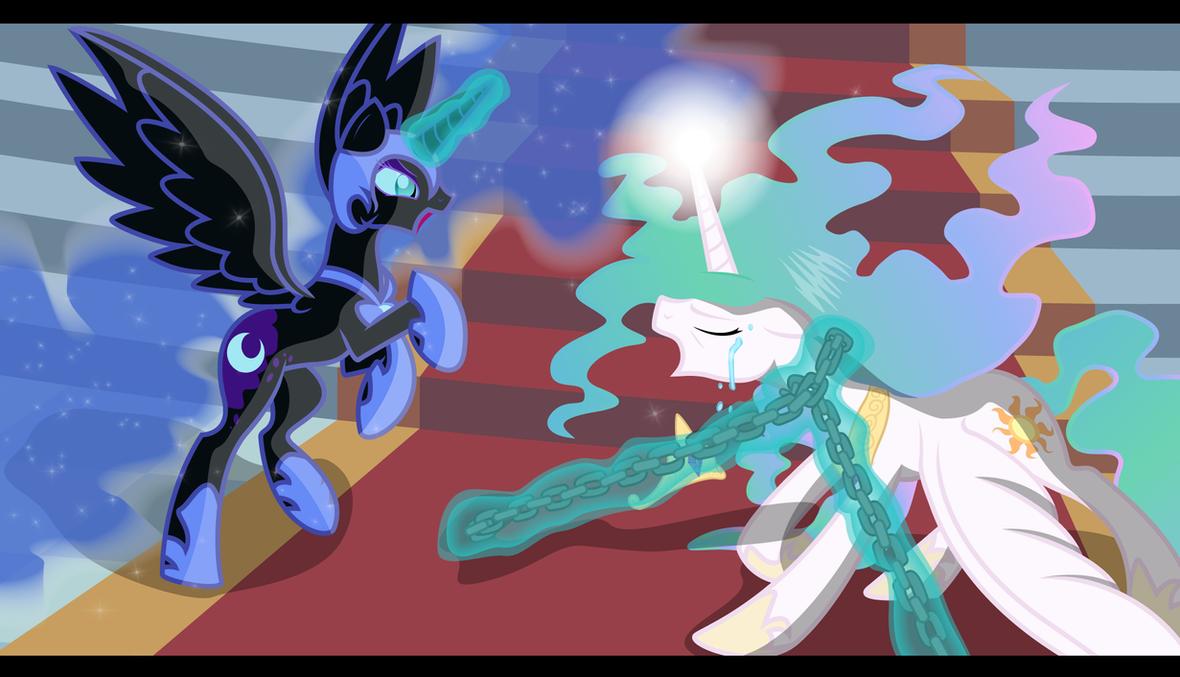 Nightmare Moon vs Celestia by Sotoco on DeviantArt