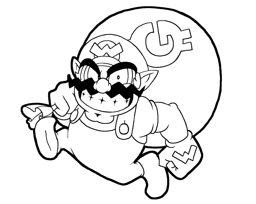 wario lineart by rongs1234 on deviantart