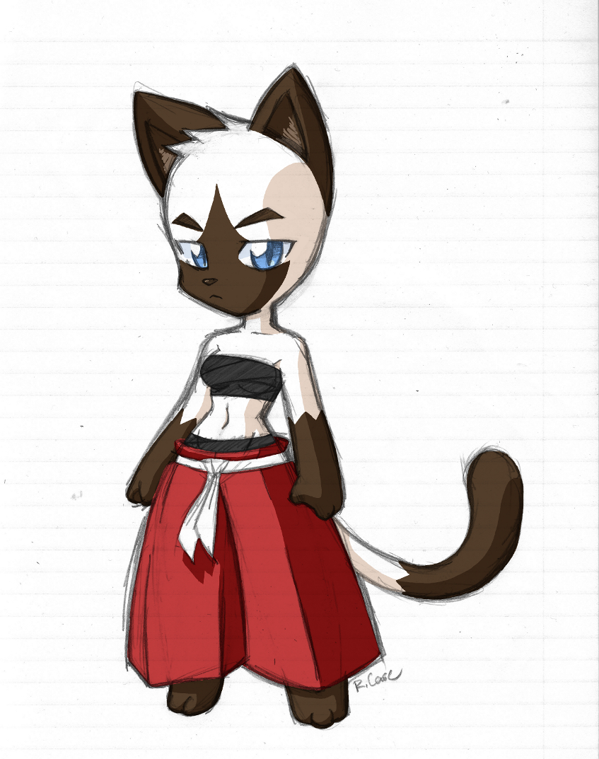 Siamese samurai cat girl sketch by rongs1234