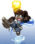 Chibi Korra bending all four elements