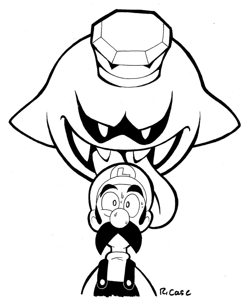 Luigi and king boo by rongs1234 on deviantart for King boo coloring pages
