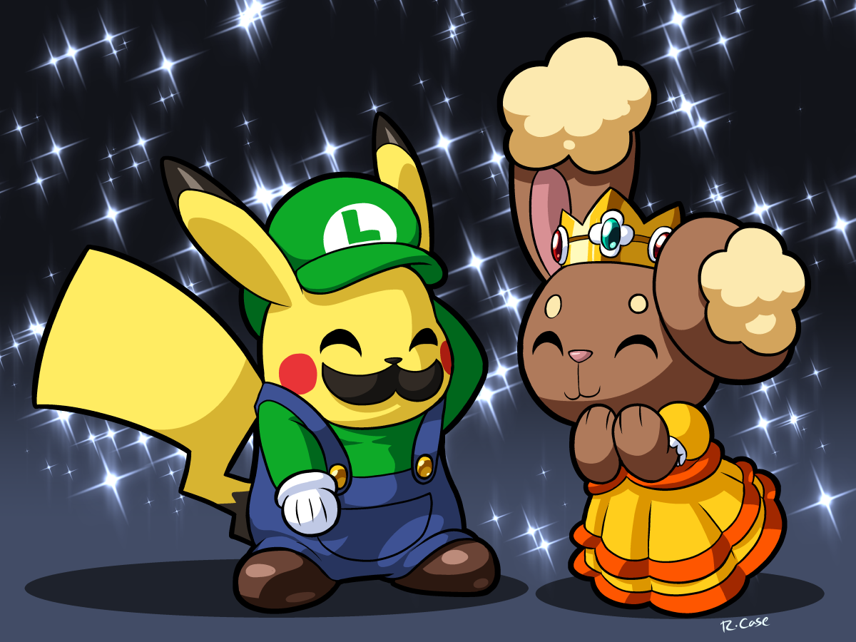 luigi pikachu and princess buneary by rongs1234 on deviantart